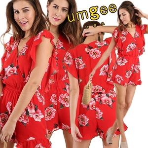 Umgee USA Floral Print Ruffled Romper Red Multi